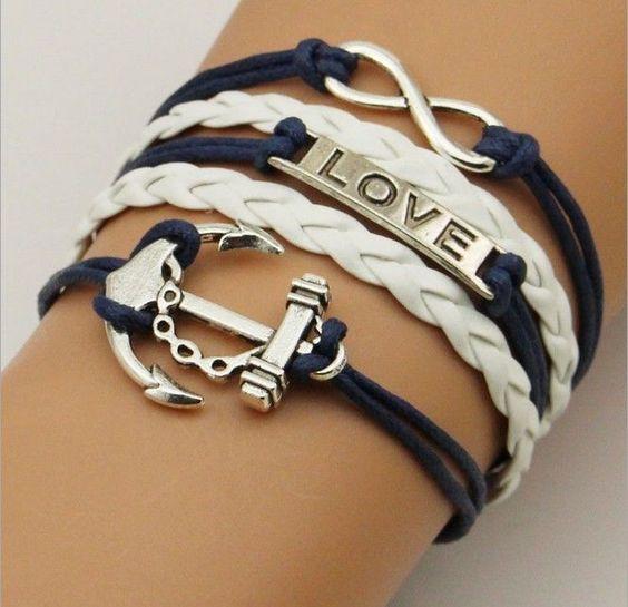 Blue and White Anchor & Love Bracelet $8