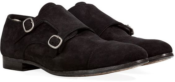$505, Black Suede Double Monks: Officine Creative Suede Double Monk Straps. Sold by STYLEBOP.com. Click for more info: http://lookastic.com/men/shop_items/45842/redirect