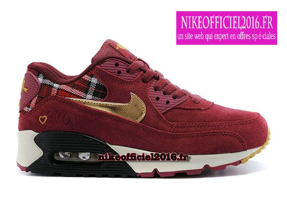 rosh run en solde - Nike Air Max 90 \u0026quot;Valentines Day\u0026quot; (Rouge d��fi/Or m��tallique/Noir ...