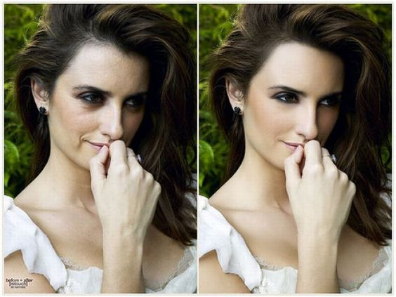 Penelope Cruz before and after Photoshop #beauty #selfesteem #airbrush #retouch #fake