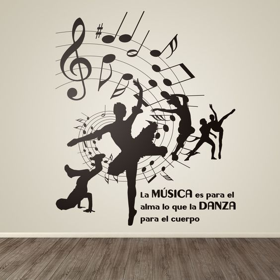 Vinilo decorativo danza y música #decoración #pared #vinilo #conservatorio #música #danza #deco #TeleAdhesivo