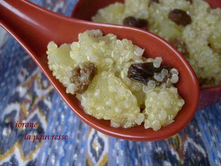 quinoa aux pommes et raisins secs