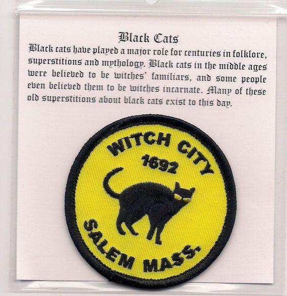 Witch City 1692, Salem, MA. Souvenir Witches' Familiar Black Cat Patch.
