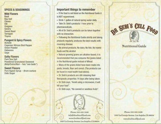 Dr Sebi Cell Food List
