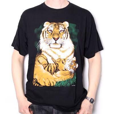 Tiger mum and cub screenprint tshirt