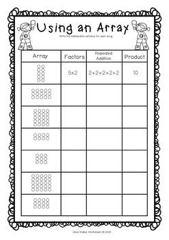 Arrays Worksheets Grade Two Math Standard First Multiplication Printables Teaching Multiplication Array Worksheets Math Standards