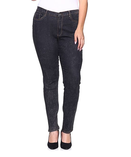 Black Snow Wash Skinny Jeans - Plus