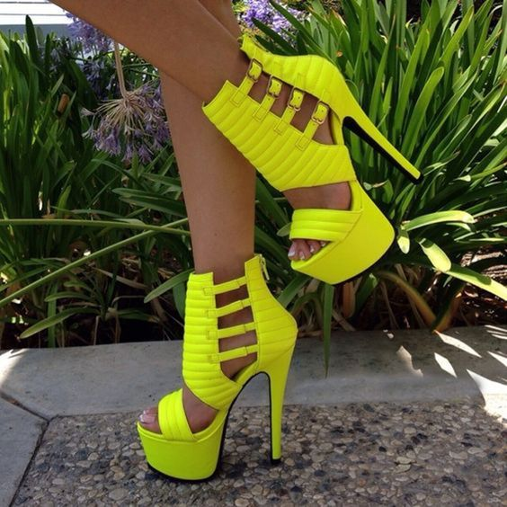Shoepsie Neon Yellow Platform #Sandals #fashion