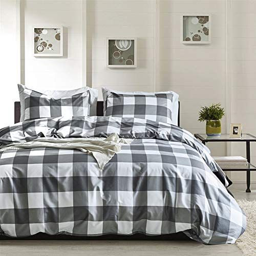 21+ Gray and white buffalo check bedding trends