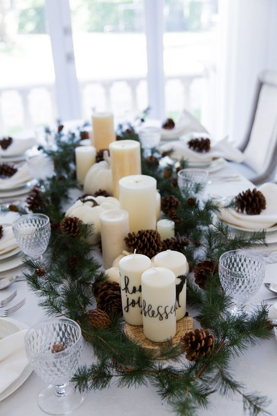 Thanksgiving Garland & Candle Centerpiece: