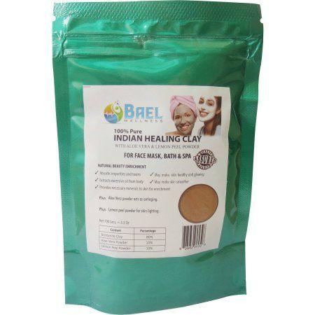 Bael Wellness Indian Healing Clay with Aloe Vera and Lemon Peel Powder, 3.4 oz