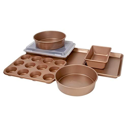 Family Traditions FT8PC Copper Non-Stick 8-Piece Bakeware Set-Includes Commercia