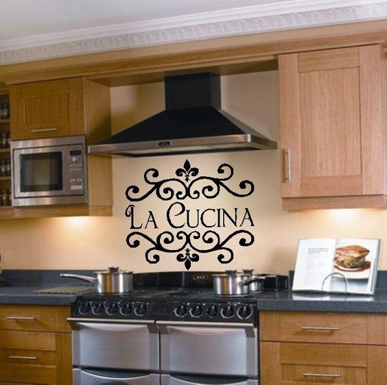 La Cucina Kitchen Vinyl Wall Decal Italian Decoration