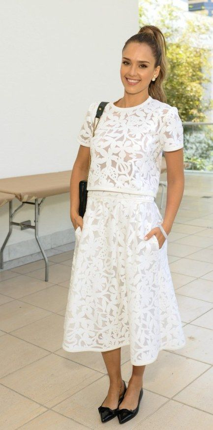 Jessica Alba (wearing Tanya Taylor skirt and top) at   Hammer Museum's K.A.M.P. Event