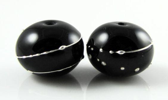 Black Fine Silver Droplet Hollow Lampwork Glass by AlishaWhite