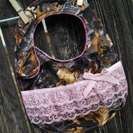 Super cute woodsy camo bib   Etsy listing at https://www.etsy.com/listing/174271685/woodsy-camo-bib-with-pink-lace-and-bow
