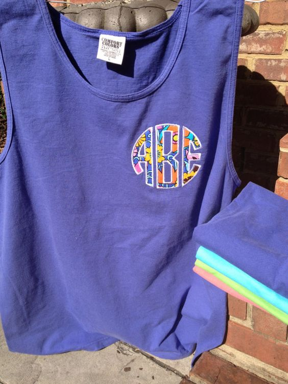 Comfort colors pigment dyed tank summer sale custom for Applique shirts for sale