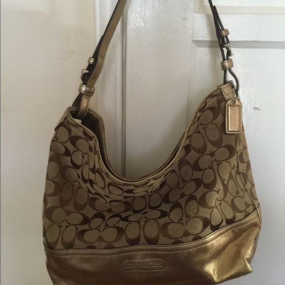 Coach Shoulder Bag...REDUCED PRICE Coach Metallic Gold signature bag... Vintage! Slightly worn on the side of the strap.... Coach Bags Shoulder Bags