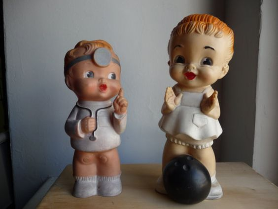 1950s Baby Boy Doctor and Baby Girl Bowler Squeaky Toy ...