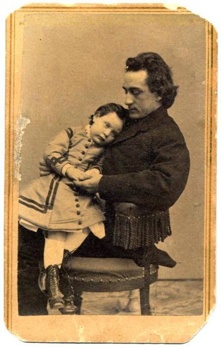 Shakespearean actor Edwin Booth (brother of John Wilkes Booth), born November 13, 1833, with daughter Edwina circa 1864.