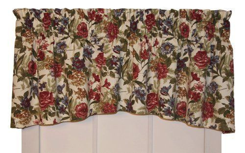 Country Rose Floral Crescent Valance Curtain 68 Inch By 18 Inch 3 Inch Rod Pocket By Window