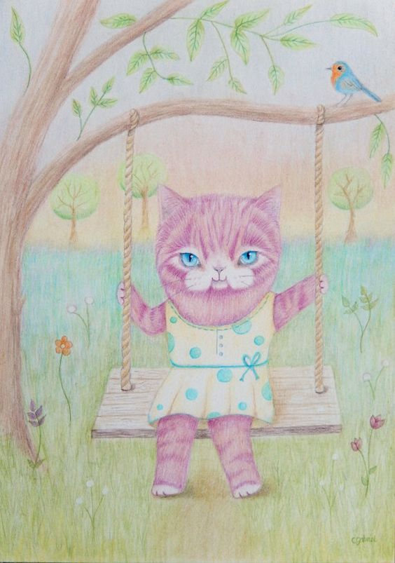 Swingy Kitty Cat Original Pencil Drawing by WhimsicalTailsArt, $80.00