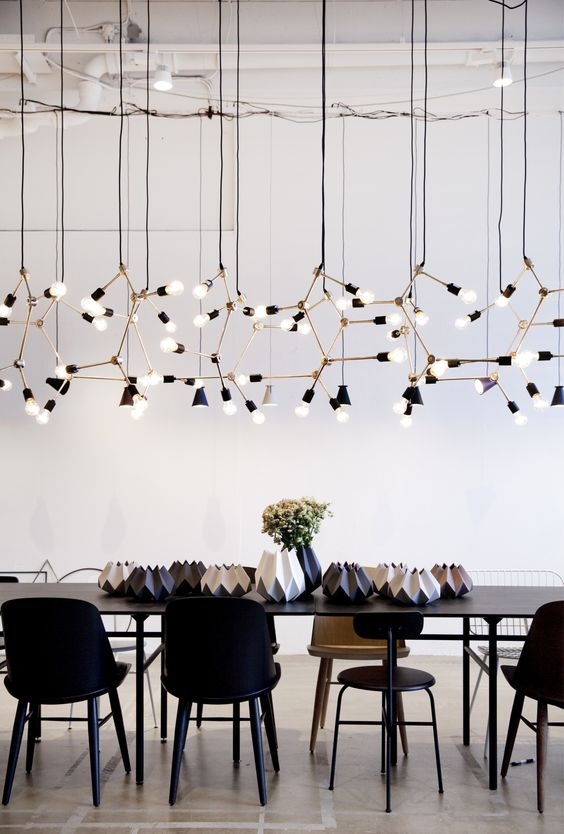 modern lighting installation with black table and chairs spaces and gems pinterest table. Black Bedroom Furniture Sets. Home Design Ideas