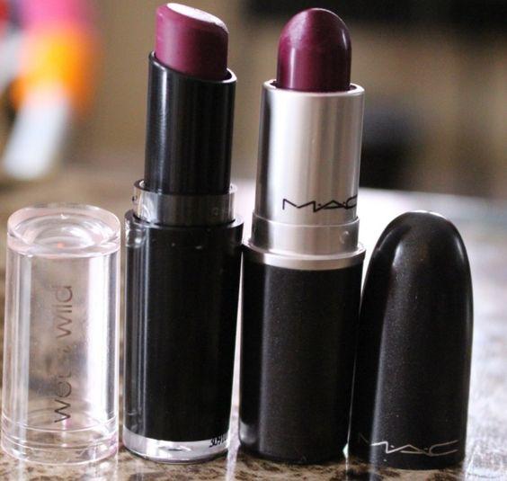 MAC Rebel lipstick dupe ~ Wet n Wild Megalast Lipstick in Sugar Plum Fairy