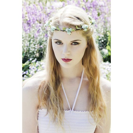 Green Flower Crown, Floral Garland, Rose Crown, Bridal Hair Wreath,... (230 MXN) ❤ liked on Polyvore