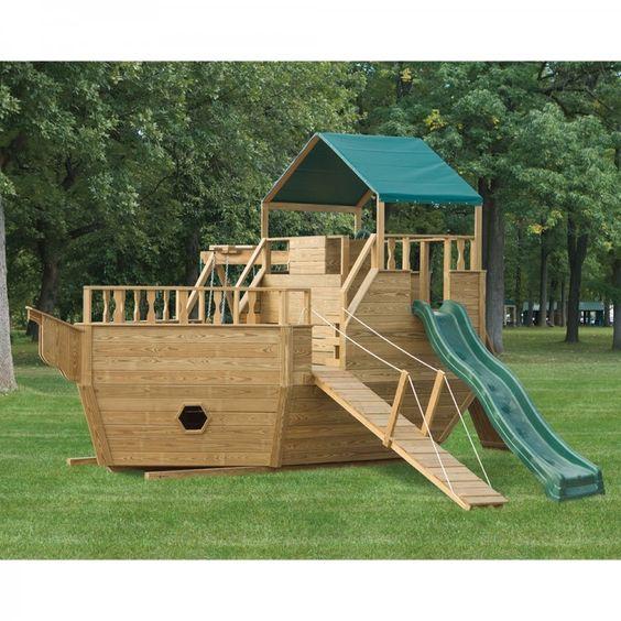 Playground set amish and playgrounds on pinterest - Pirate ship wooden playground ...