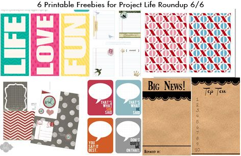 Free Printable Freebies for Project Life