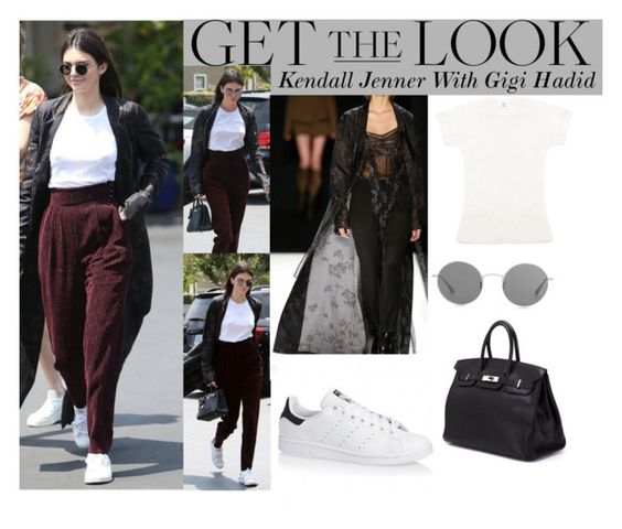 """""""Kendall Jenner with Gigi Hadid  At Fred Segal In L.A June.1.2016"""" by valenlss ❤ liked on Polyvore featuring Vera Wang, Oliver Peoples, Hermès and adidas Originals"""