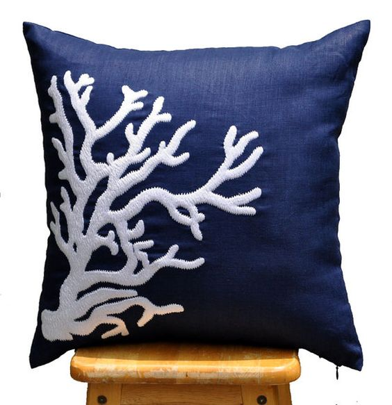 Nautical Coastal Throw Pillows : Coral Throw Pillow Cover, White Nautical Coral on Navy Blue Pillow, Embroidered Pillow, Pillow ...