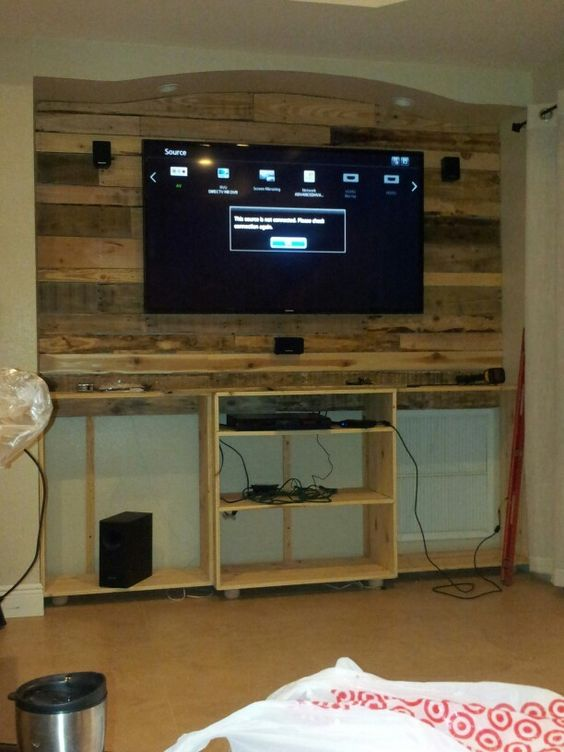 Pallet Entertainment Center Add Tv And Wiring Step 4