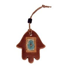 Small Brown Ceramic Hamsa with Light Blue Hamsa and Hanging Cord