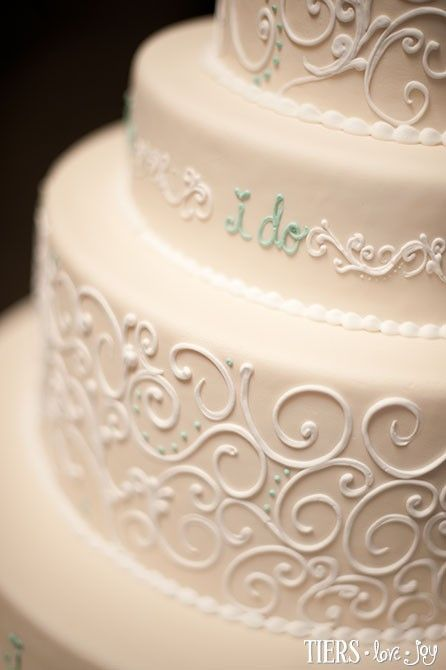 """""""I Do"""" Wedding Cake with Piped Scrolling by Beverly's Best Bakery - so beautiful!"""