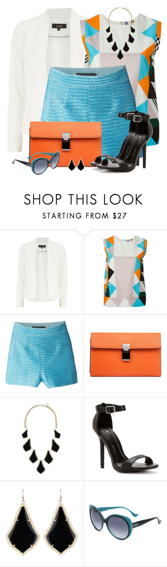"""""""Ermanno Scervino High Waisted Shorts"""" by brendariley-1 ❤ liked on Polyvore featuring Luxe, MSGM, Ermanno Scervino, Kendra Scott and Kenzo"""