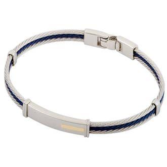 Bracelet homme, or jaune, acier, 0.04g, Style moderne - Manège à Bijoux