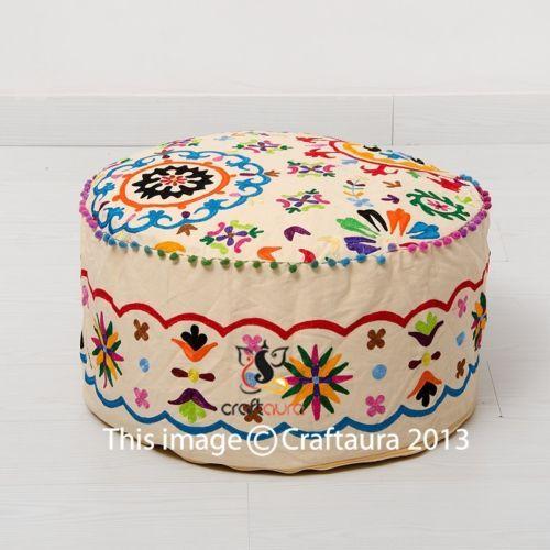 Indian-Pouf-Ottoman-Pouffe-Poof-Round-Pouf-Foot-Stool-Ethnic-Decorative-Pillow