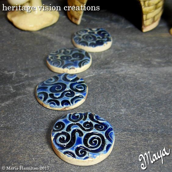 Fairy Garden Stepping Stones Set #90 | Round Stoneware with Spiral Pattern, Set of 4, Dark Blue  | Fairie Garden Accessory by HeritageVision on Etsy