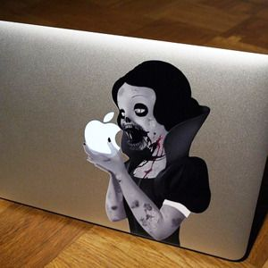 Zombie Snow White Macbook Decal  http://www.coolhunting.com/design/zombie-snow-white-apple.php/