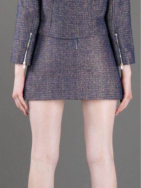 Alice + Olivia Zipup Mini Skirt in Blue - Lyst #ao