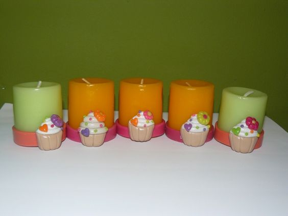 polymer clay, candle, cupcake, fimo, velitas