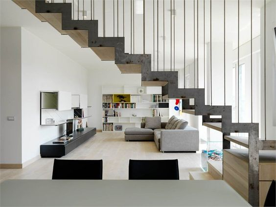 Scala in ferro e Legno: Stair Ideas, Appartamento Duplex, Design Stairs, Stairs Construct, Dl Stairs, Interior Staircases