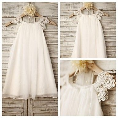 Sheath Knee-length Flower Girl Dress - Chiffon / Lace Sleeveless 2016 - $49.99