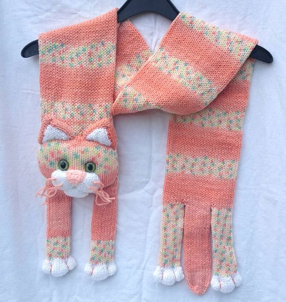 Handmade knitted cat scarf. Cute, warm, soft. Suits children or adults. Approx 54-55 inches long. Could be a nice present for your loved one.: