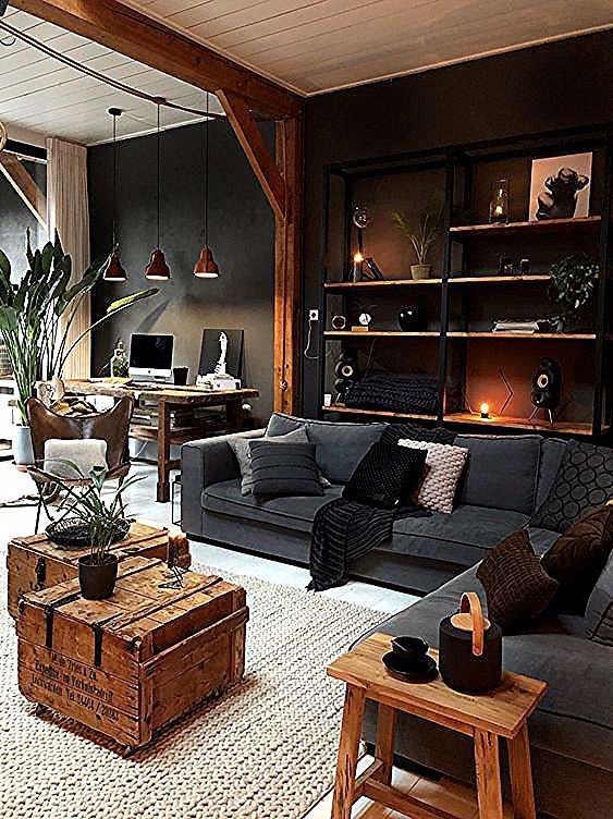 Masculine Industrial Living Room With A Wall Mounted Shelving Unit Industrial Living Masculine Cosy Living Room Industrial Livingroom Rustic Living Room #wall #mounted #shelves #living #room