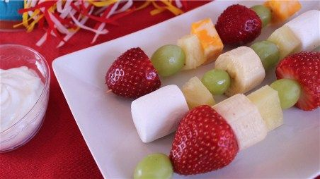Fruit Kabobs--A healthy idea for class birthday celebrations.