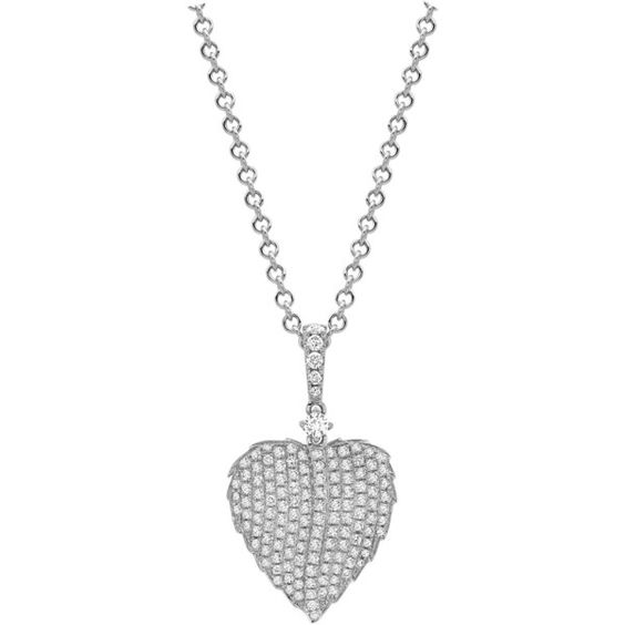 Lauren White Gold Pave Diamond Leaf Pendant £2,500.00 (77 490 UAH) ❤ liked on Polyvore featuring jewelry, pendants, white gold jewellery, pave diamond pendant, leaf jewelry, ballerina jewelry and chains jewelry