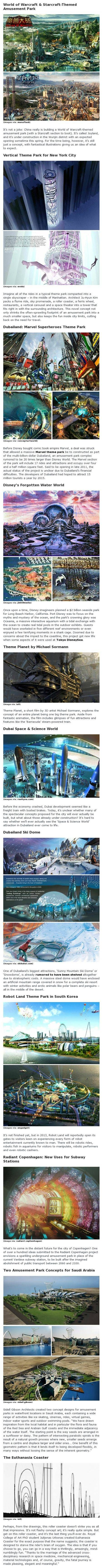 Here are some futuristic theme park concepts and rides that are out of this world.